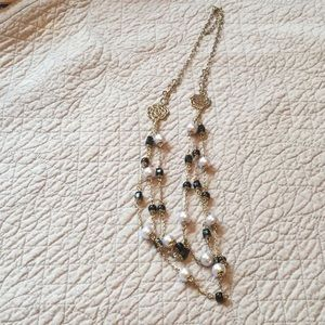 Faux pearl and black bead necklace NWOT